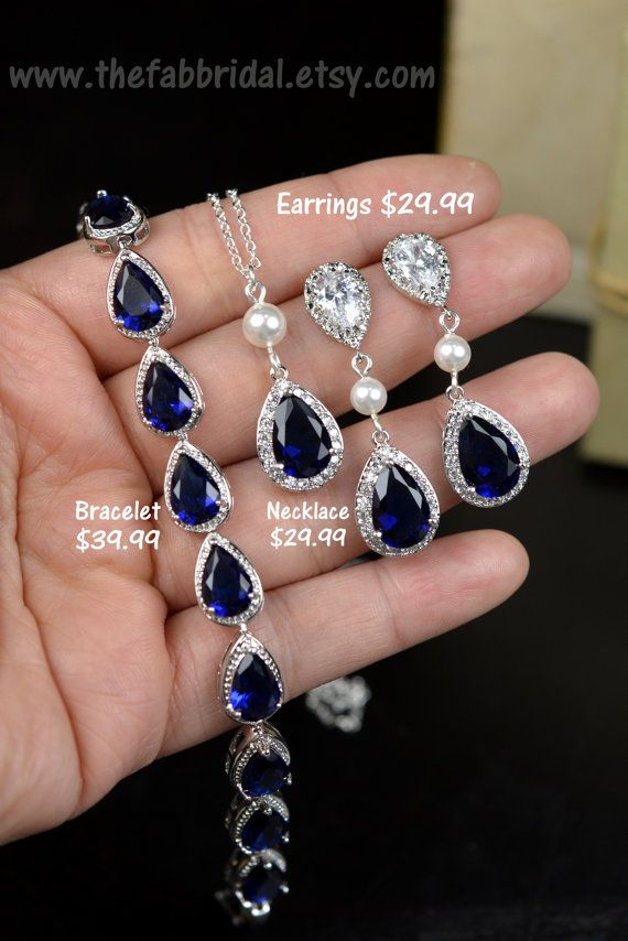Blue Navy blue,sapphire blue Wedding Jewelry Bridesmaid Gift Bridesmaid Jewelry Bridal Jewelry tear Earrings necklace SET,bridesmaid gift