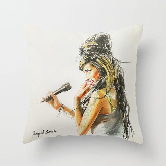 Winehouse Portrait 2 Throw Pillow by Raquel García Maciá | Society6