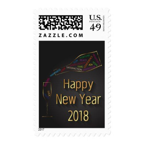 New Year 2018 Champagne Bottle Glass - Postage