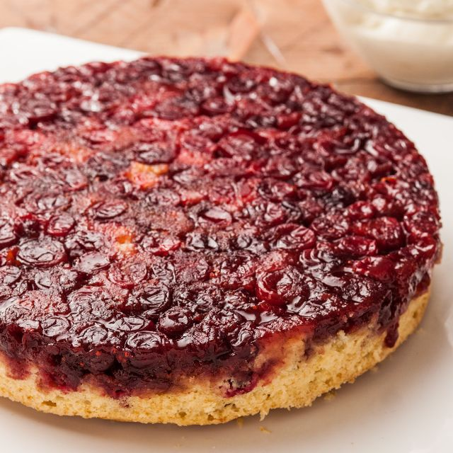 A rich cranberry upside-down cake recipe.