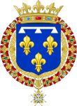 Blason: Ducs d'Orléans. -Gaston de France: son prénom usuel, Gaston, lui vient de sa marraine, la reine de Navarre, Marguerite de France, 1° épouse de son père en l'honneur de Gaston de Foix, prince de Navarre, patrie de ses origines paternelles; et ses 2 autres prénoms, Jean-Baptiste, de son parrain, le cardinal François de Joyeuse.