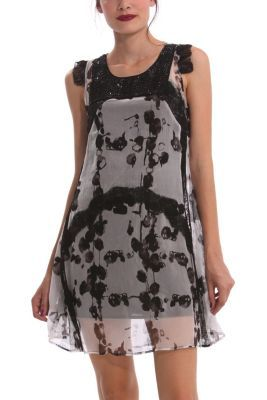 Desigual women's Wovdos dress from the line designed by Monsieur Lacroix. It's made from transparent gauze and comes with a black detachable under-slip as a short strappy dress.