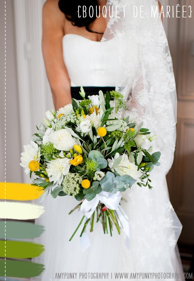 pour le bouquet de mariée : j'aime beaucoup ces fleurs jaunes et le feuillage choisi (feuilles d'olivier ? si c'est le cas je souhaiterais en insérer dans mon bouquet) ainsi que les couleurs