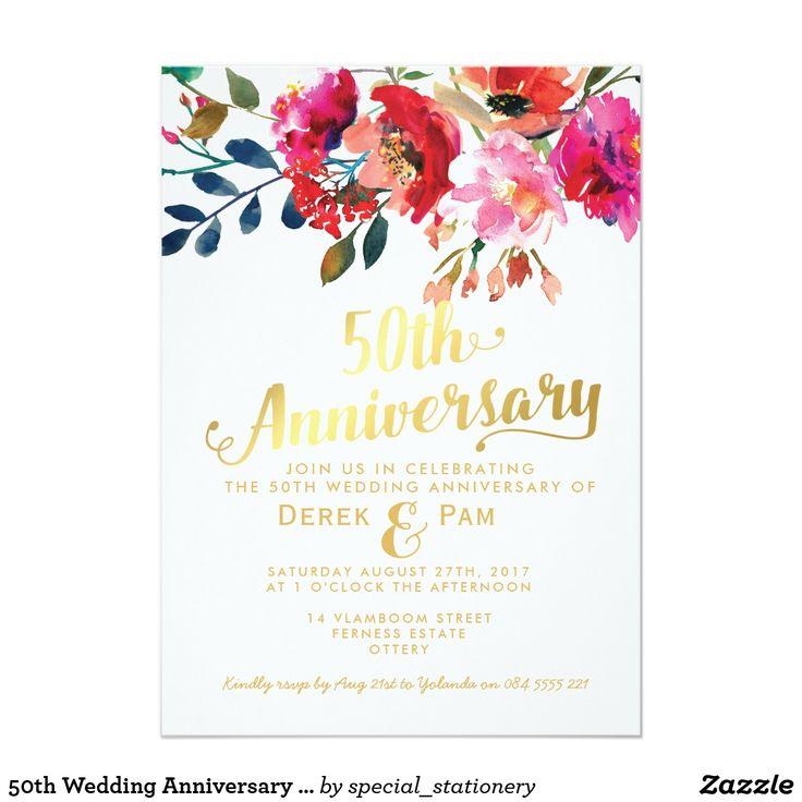 50th Wedding Anniversary Elegant Gold Floral Card