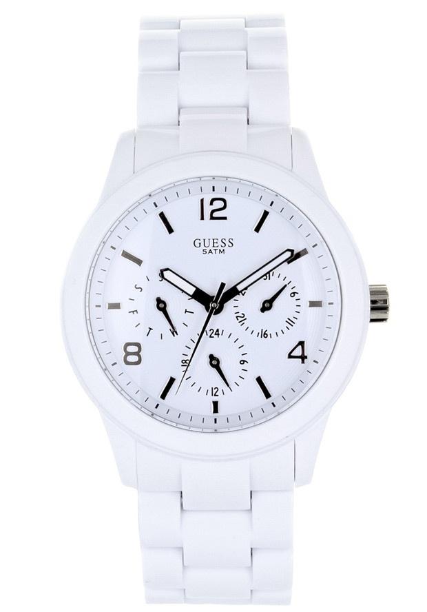 Price:$110.69 #watches Guess W11603L1, Plastic case, Plastic bracelet, White dial, Quartz movement, Scratch-resistant mineral, Water resistant 3 ATM - 30 meters - 100 feet