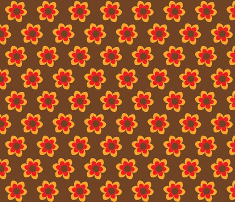 retroflower brown fabric by mofje on Spoonflower - custom fabric