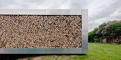 stacked wood as part of exterior wall