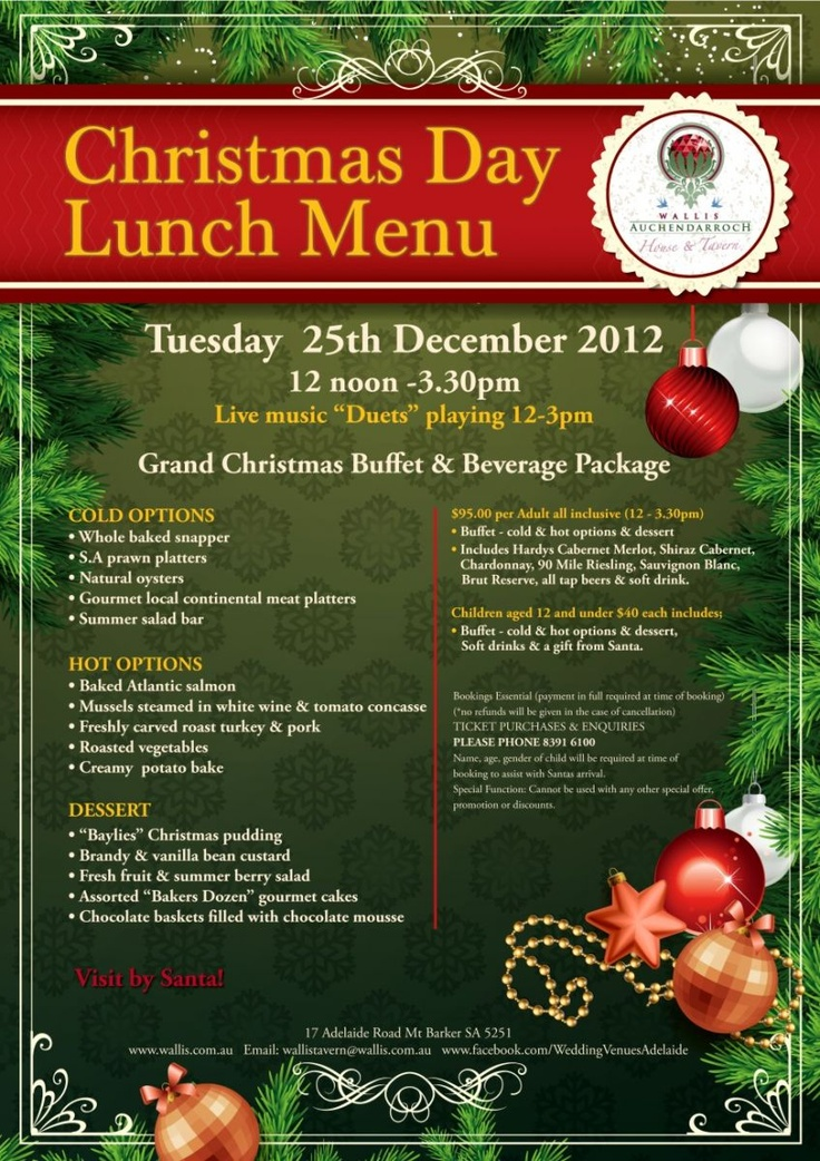 Christmas day lunch menu special event wedding birthday and other events pinterest - Christmas menu pinterest ...