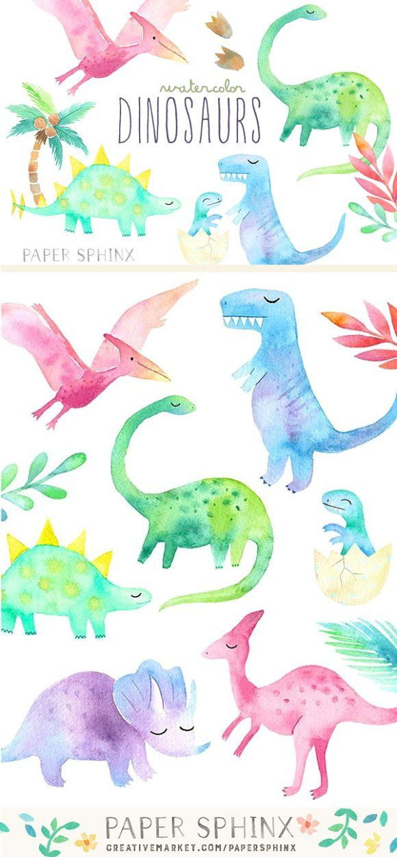 Watercolor Dinosaurs Pack by PaperSphinx on @creativemarket
