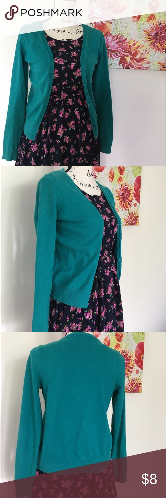 Cotton On Teal Cardigan Gently worn - still in great condition. Smoke free home. Will ship in one business day. All reasonable offers considered. Check out my closet for other great pieces and bundle deals!! Cotton On Sweaters Cardigans
