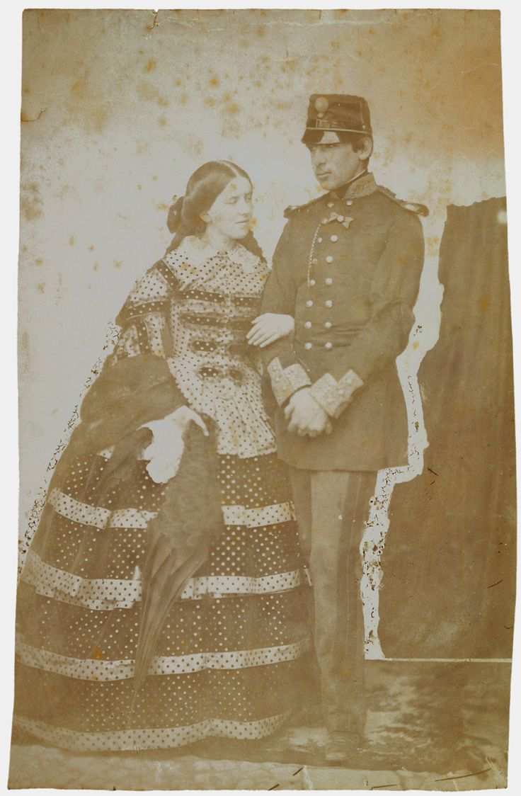 "King Pedro V of Portugal (1837-1861) and Stephanie of Hohenzollern-Sigmaringen, Queen of Portugal (1837-1859) Photo taken by Wenceslau Cifka in 1859 "" The marriage by proxy took place on 29 April 1858..."