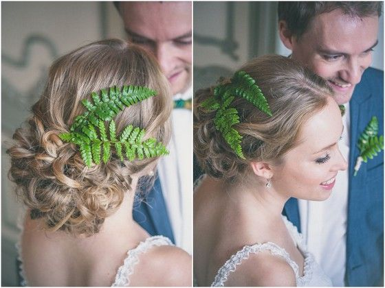 Fotocredit: FOTOZEE (http://fotozee.nl/) - Pinterested @ http://wedspiration.com. #nature #wedding #hairdecoration #ferns #longhair