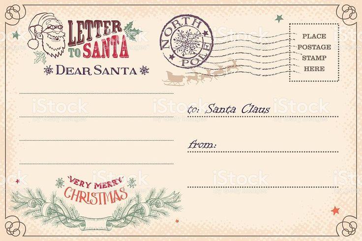 Vintage carta de Papai Noel cartão postal - arte vetorial de acervo royalty-free