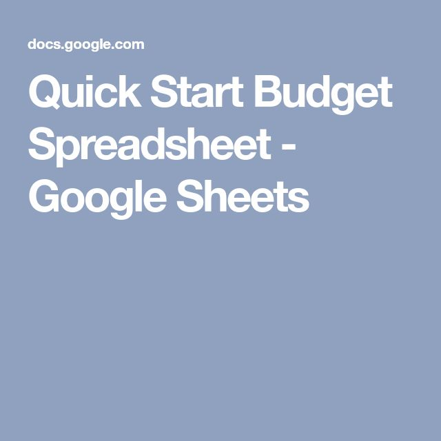 Quick Start Budget Spreadsheet - Google Sheets Saving money - wedding budget spreadsheet google docs