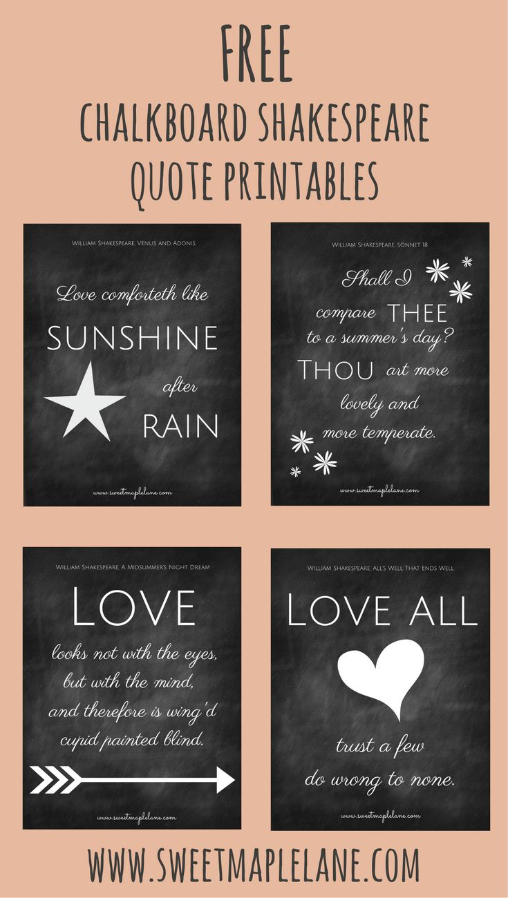Download a set of four chalkboard Shakespeare quote printables!
