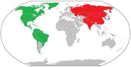 El mapa muestra el territorio (en rojo) que ocuparía la India si tuviera la misma densidad de población que EE.UU. En verde aparece el territorio que ocuparía EE.UU. con la densidad de población actual pero con el tamaño de población de la India