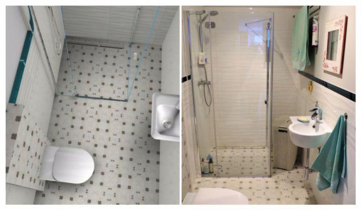 visualization and realization, small white bathroom