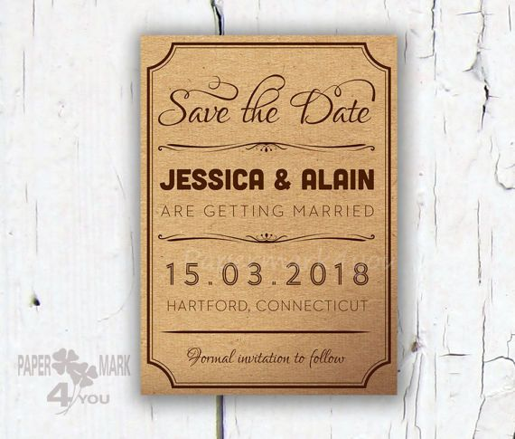 Kraft Rustic Save The Date  Request Custom Color_ by PaperMark4You