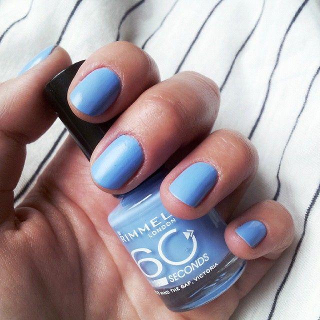 Rainy day blues #:umbrella: #:nail_care: #:heartpulse: #:green_heart: ___________________________________ #notd #nails #mani #rimmel #naipolish #blue #bluemani #instanails #instapolish #rimmellondon #bluenails #rimmelpolish #nailsoftheday #mindthegapvicto