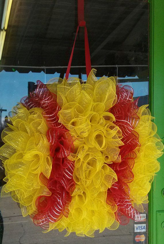 Softball Deco Mesh Wreath Yellow and Red by BowDaciousBabyCo, $55.00