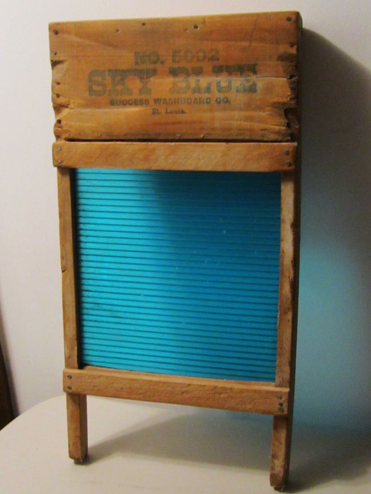 LAUNDRY~Vintage Sky Blue Glass Washboard By the Success Co., St Louis