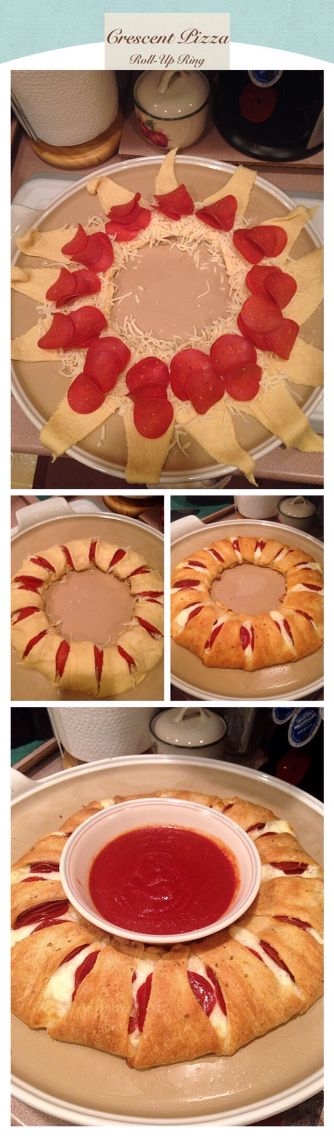 Pizza Crescent Roll Up Ring!  Ingredients: • 2 cans of Pillsbury crescent roll dough • 1 bag of pepperoni • 1 bag of mozz cheese  Directions: 1. Preheat oven at 375 2. Take out dough and pull apart the triangles  3. Place bowl in the center of baking pan, layer the triangles on top of one another in a giant ring 4. Place cheese on inner ring closet to the bowl all around the triangles 5. Place about 4-5 pieces of pepperoni on cheese 6. Roll dough forward and tuck under roll 7. Bake 15-20…