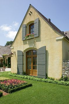 cool Colors of Provence...Yellow Stucco with Patina Green Windows and Shutters Check more at http://www.interiordesignnewideas.com/colors-of-provence-yellow-stucco-with-patina-green-windows-and-shutters.html