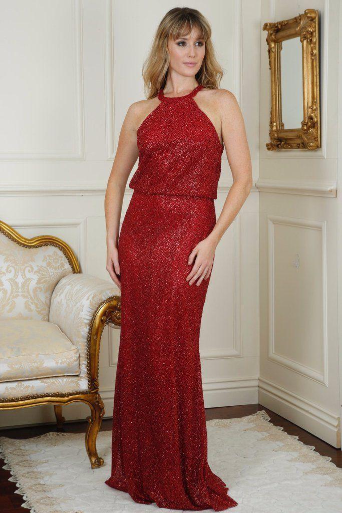 Danielle Wine Red Glitter Maxi Dress