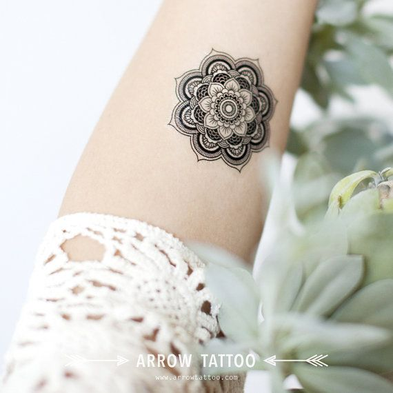 Boho Tattoo Mandala Pattern Tattoo Temporary Tattoo by ArrowTattoo