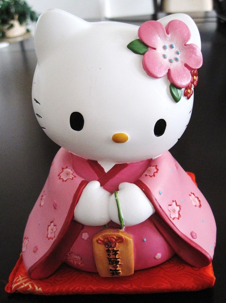 Pink Sanrio Hello Kitty Fortunate Tradition Kimono Collectible Ceramic Coin Bank | eBay