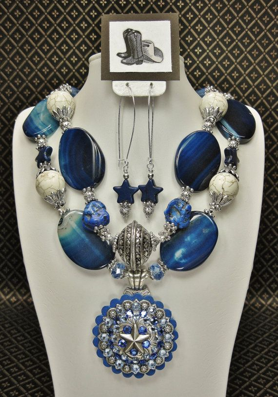 BLUE CHUNKY COWGIRL Necklace Western by CayaCowgirlCreations, $59.50
