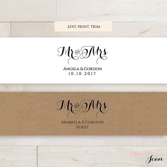 Invitation Belly Band printable template Mr and Mrs for your wedding invitation sets. From the Byron Collection. Change all colours easily. Simply input your names and date of wedding, print and trim to size. They are set up at 11 inches long by 1.75 inches thick, 4 on a page. Perfect for 5 inch wide (or less) invitations, leaving a one inch overlap at the back so you can secure them nicely with some double sided tape or a spot of glue. Why not print on some lovely kraft paper!  ** This…