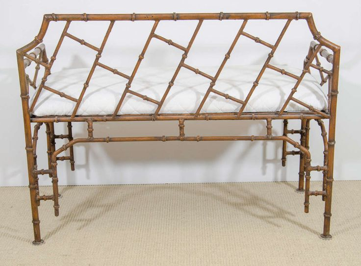 Midcentury Iron Faux Bamboo Bench | From a unique collection of antique and modern benches at https://www.1stdibs.com/furniture/seating/benches/