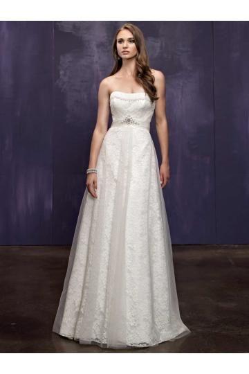 A-linie bez ramínek tylu a krajky s výšivkou na zip rukávů módní svatební šaty