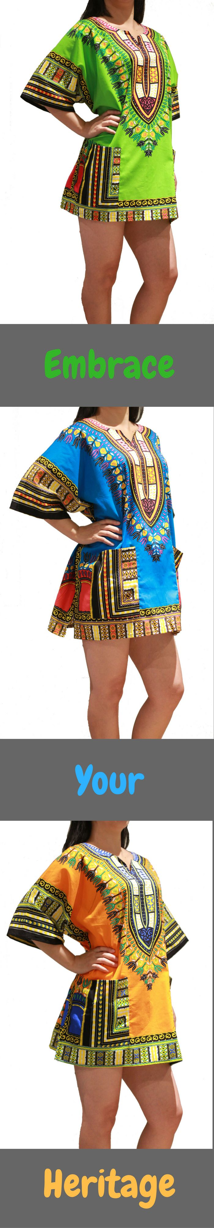 Embrace Your Heritage! Beautiful Vibrant African Dashiki Shirt or Dress for $12.95