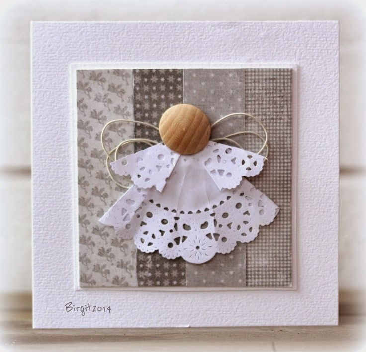 Doily Angel with button head & twine wings