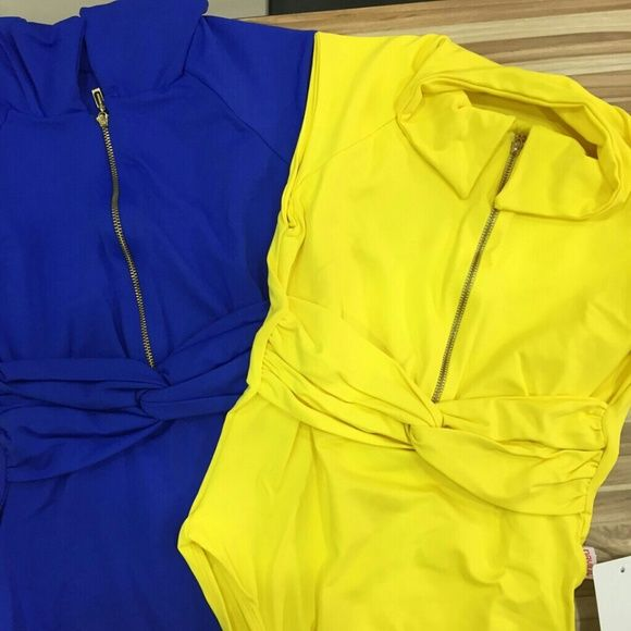 NEW*Brazilian one piece zip. bodysuit bodycon top New with tags One piece body suit top with zipper You pick one color, royal blue or yellow ( the yellow is not as bright as the first and last photos, it's just like the 3rd one) Made in Brazil great quality lycra suplex light One size fits S-M-L (stretch) Palot Boutique Brasil Tops