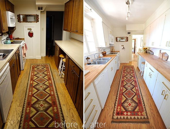 Modern white eclectic kitchen diy renovation before and for Small galley kitchen makeovers budget