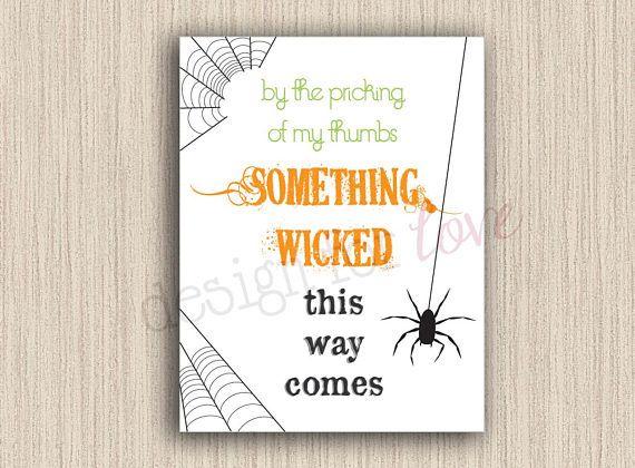 Something Wicked - Printable File - Halloween Decor   JordanDesignsForLove Etsy Shop   #halloweenprint #halloween #decor #fall #printable #etsy #digital #handmade #something #wicked