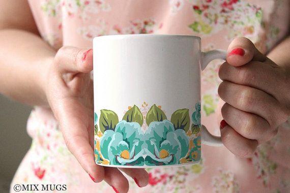 Floral Mugs, Pretty Mugs, Flower Mug, Teal Mugs, Mugs for Mom, Mugs for Her, Mugs for Girls, Gardener Gifts, Ceramic Coffee Mugs (a2811)