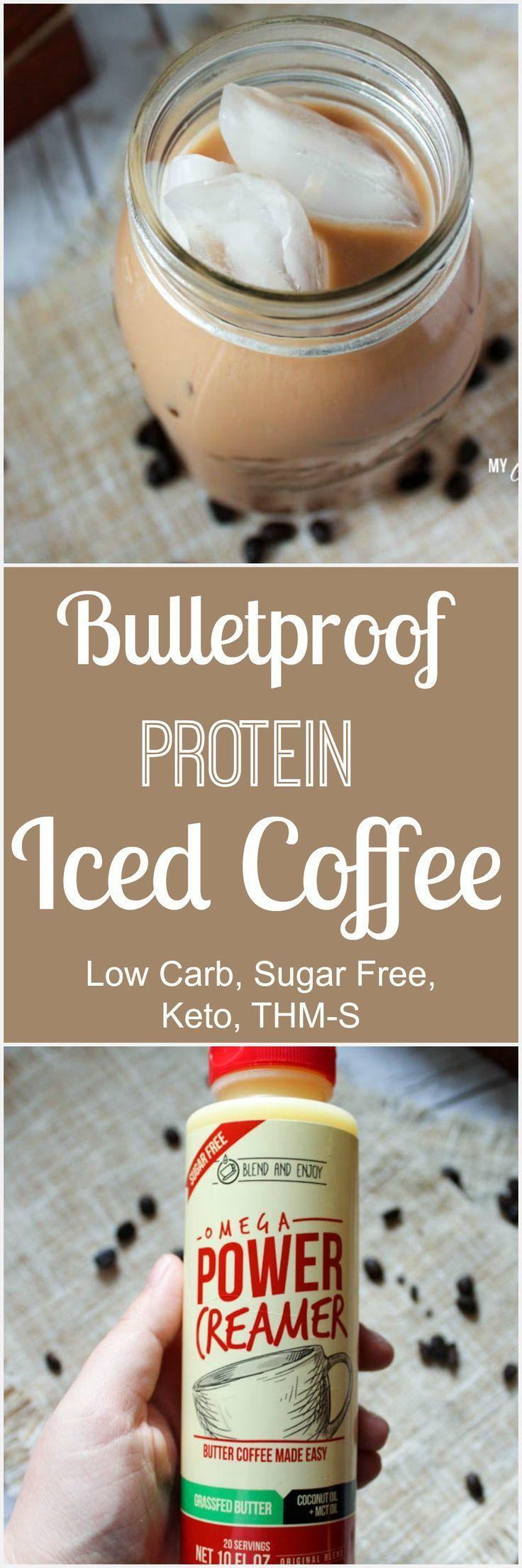 Keto bulletproof protein iced coffee low carb sugar free
