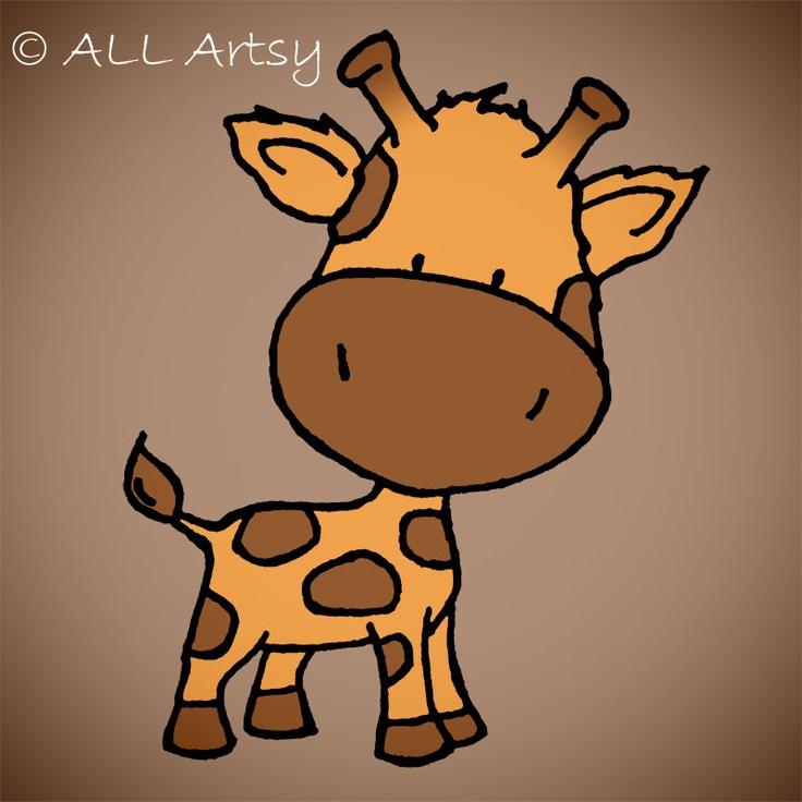 Baby Giraffe nursery art print.
