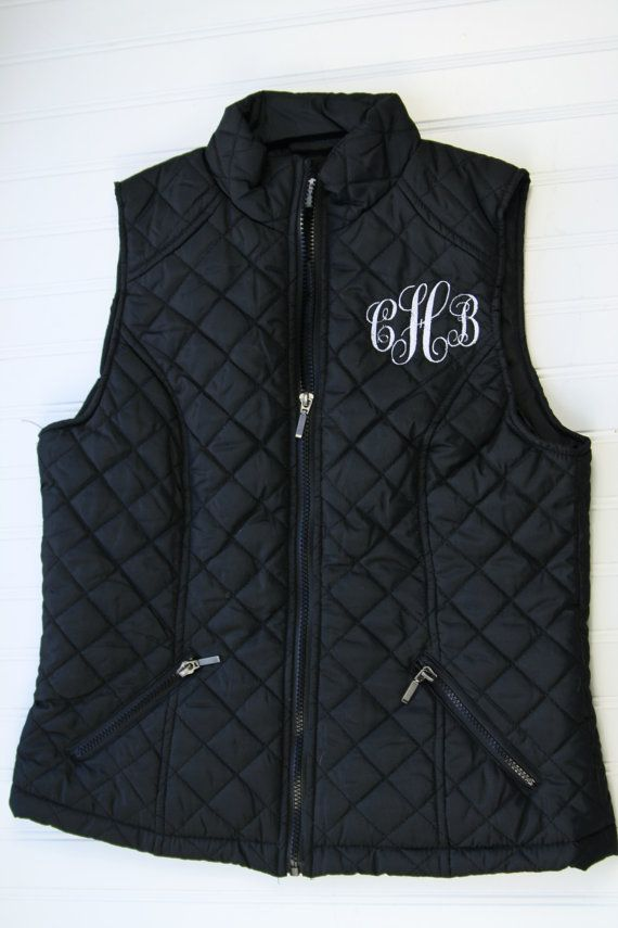 Monogrammed Quilted Vest Pocket or Back Monogram by SodaCitySewing, $35.00