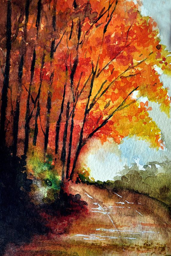 ORIGINAL Watercolor Painting Autumn Road Colorful 4 x 6 by ArtCornerShop