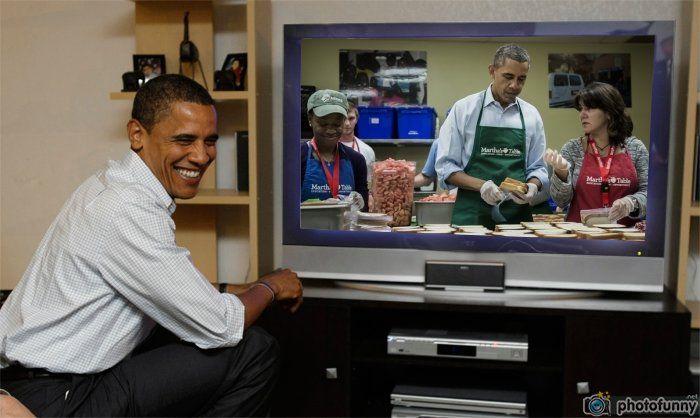 Barack Obama making sandviches Martha's Table watch live Obama