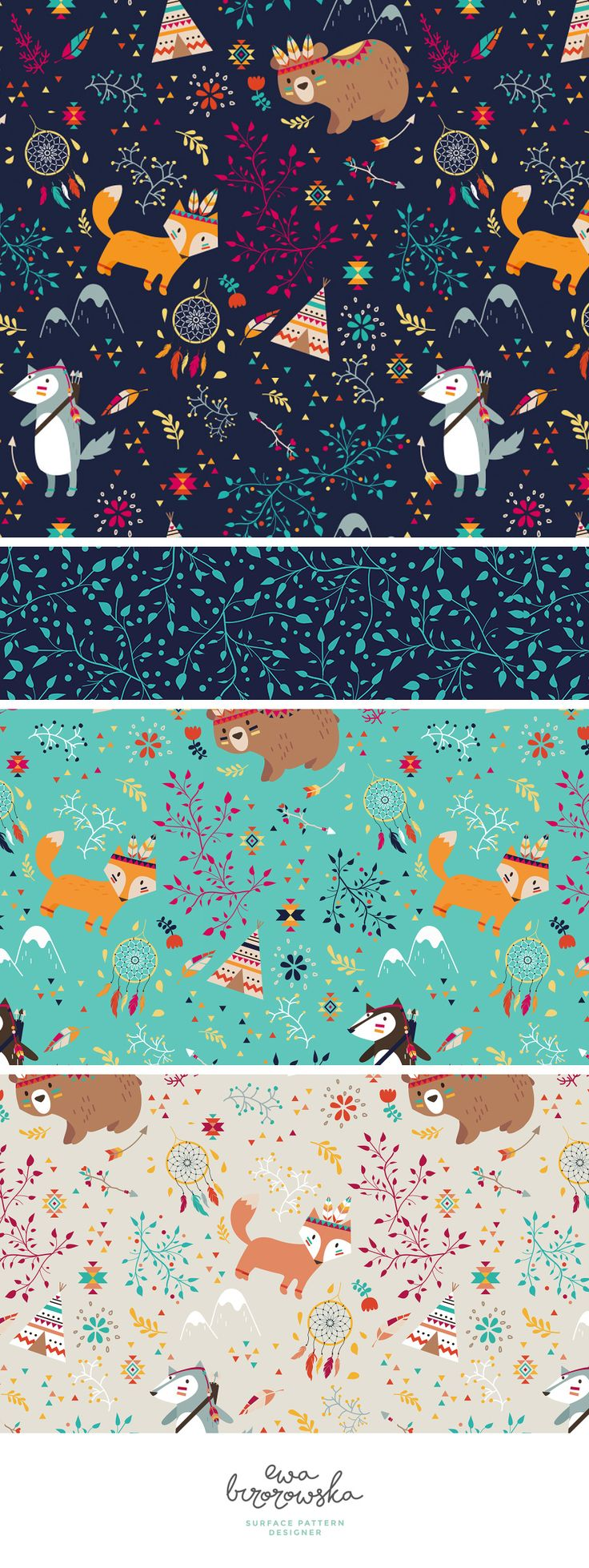 Tribal Adventure is a pattern I designed during the workshop with Elizabeth Olwen and participed with it in Spoonflower's Weekly Contest. It got to first 10 in the contest :) It's a mini-collection of pattern designs for children. The woodland, wood animals in different species: bear, fox and wolf. Just cute ;)