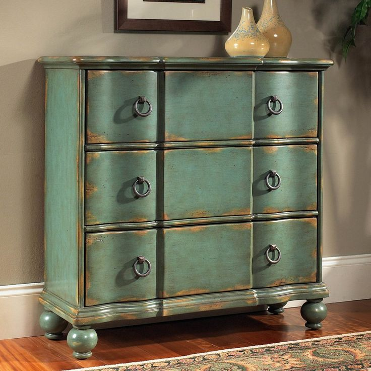 Elegant Pulaski Furniture DS 739276 Hall Chest Decorative Storage Cabinet,  Weathered Blue   Home Furniture
