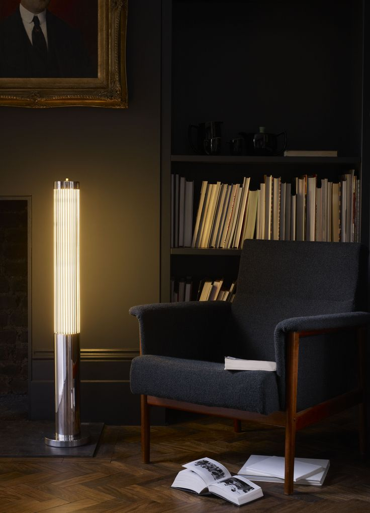 An Art Deco Influenced Floor Lamp, This Davey Lighting Luminaire Diffuses  Light Through Vertical Glass Rods Arranged Around The Circumference Of The  Pillar.