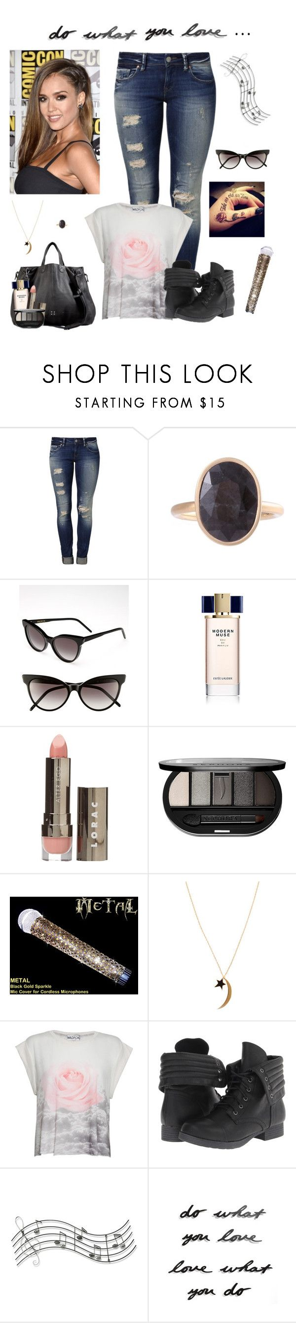 """Let it shine...Milan Turn Up!!"" by shely-brown ❤ liked on Polyvore featuring Mavi, Kelly Wearstler, Wildfox, Estée Lauder, LORAC, Sephora Collection, Jennifer Zeuner, Pink & Pepper, Music Notes and Umbra"
