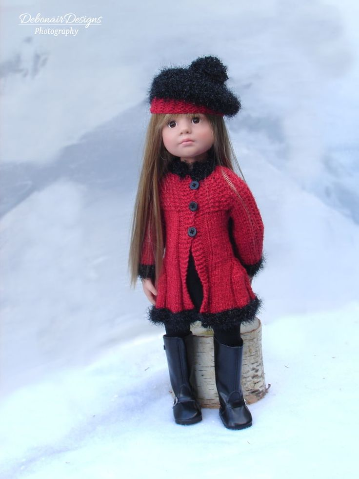 OOAK Hand-Knitted Winter Coat & Beret for Gotz Happy/Classic Kidz & Hannah dolls #DebonairDesigns